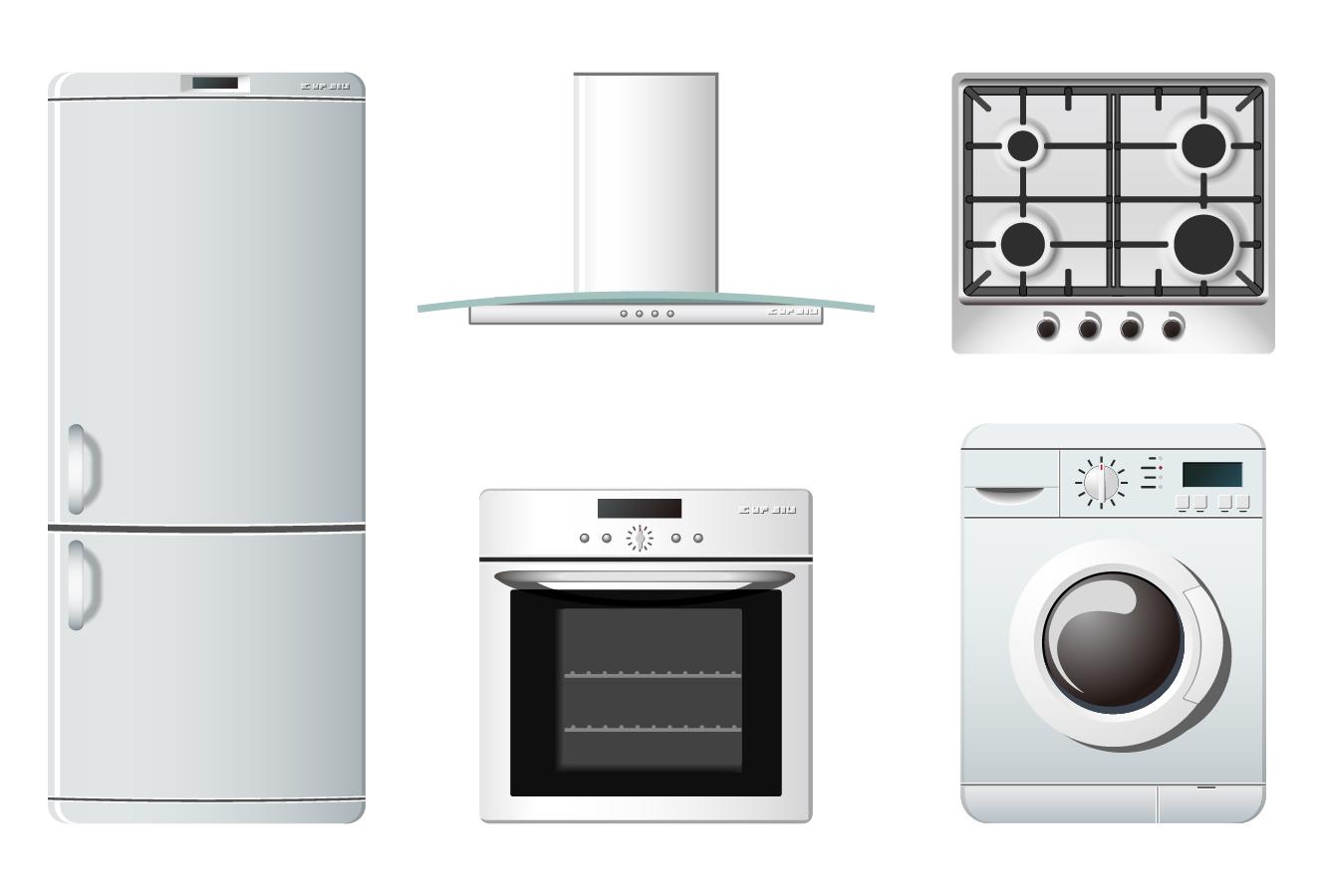 白物家電のクリップアート household appliances icons イラスト素材1