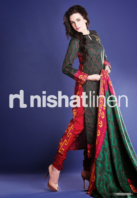 Nishat Linen New Stylish Winter Party Wear Dresses Collection 2013-2014 For Women And Girls Fashion