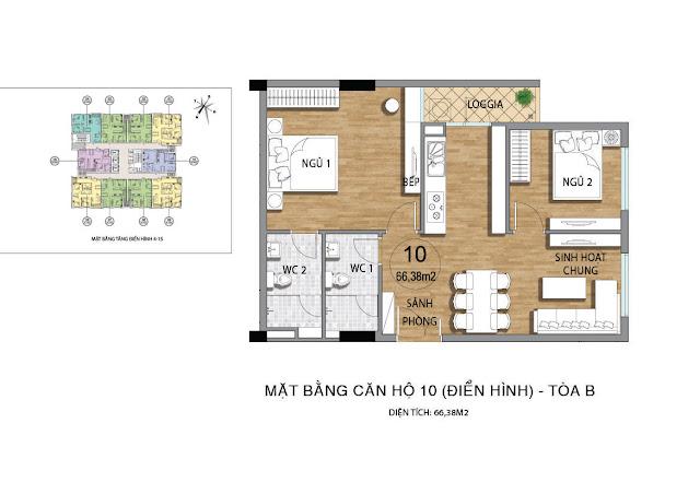 Mặt bằng căn hộ B10 tầng 4-145 dự án Valencia Garden