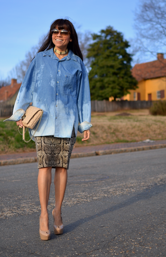 Snake and Denim Outfit