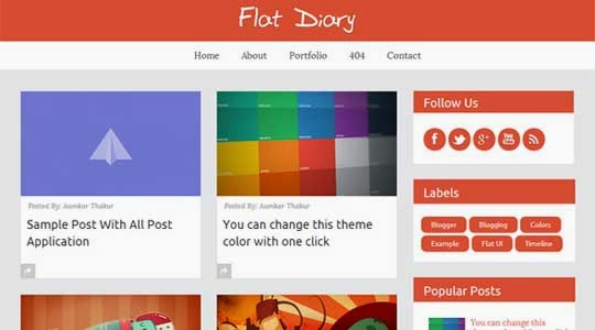 Flat Diary Free Premium Blogger Template