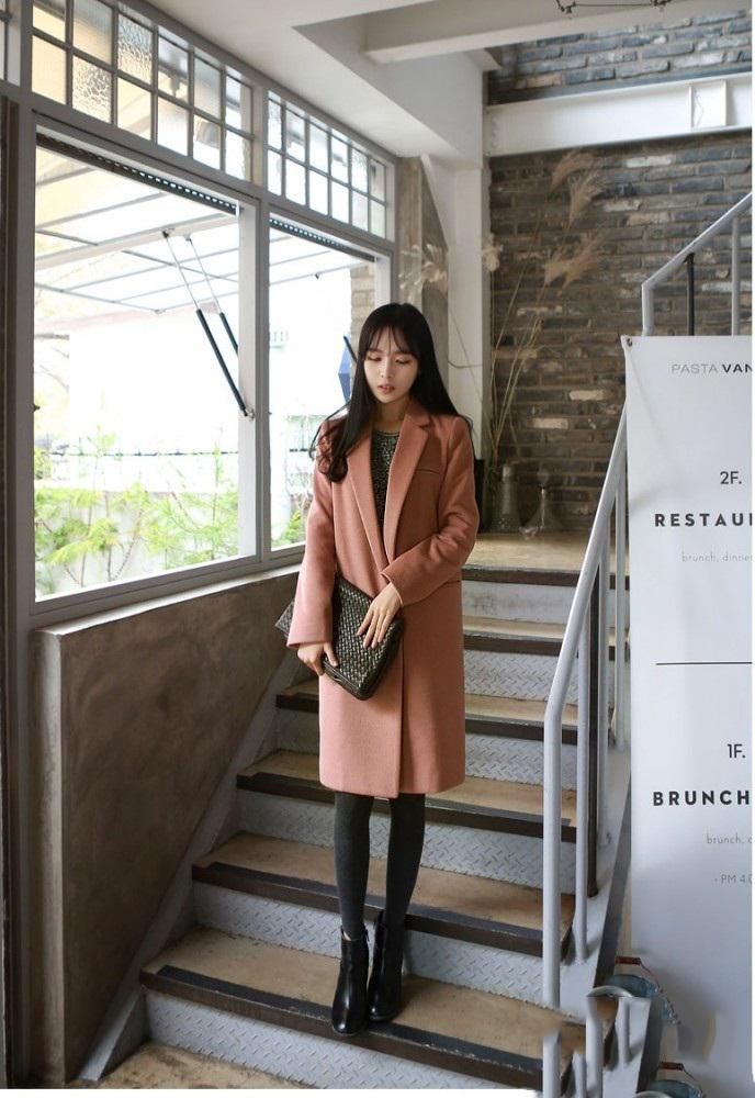 Áo khoác dạ măng tô nữ dáng dài đẹp kiểu hàn quốc