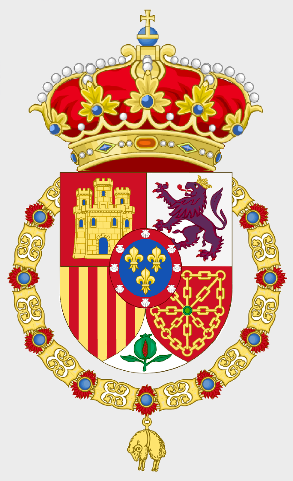 Escudo de S.M.C. don Carlos Javier I de Borbón Parma