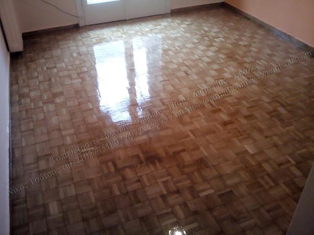 Επισκευή και λουστράρισμα σε ξύλινο πάτωμα μωζαίκ