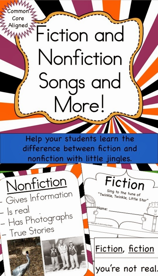 http://www.teacherspayteachers.com/Product/Fiction-and-Nonfiction-Songs-and-More-1180623