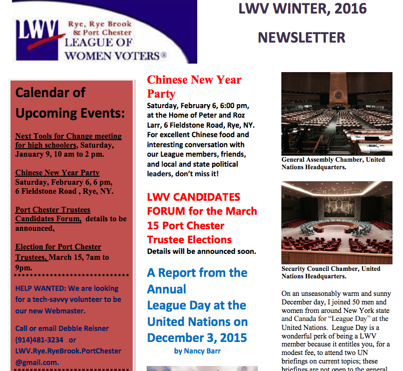 WINTER LEAGUE NEWSLETTER
