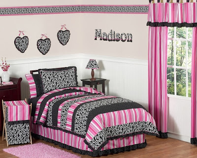 The pink and black madison girls kids amp teen bedding 4pc twin set