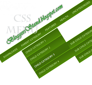 CSS Green Colour Style Drop Down Navigation Menu Bar for blogger