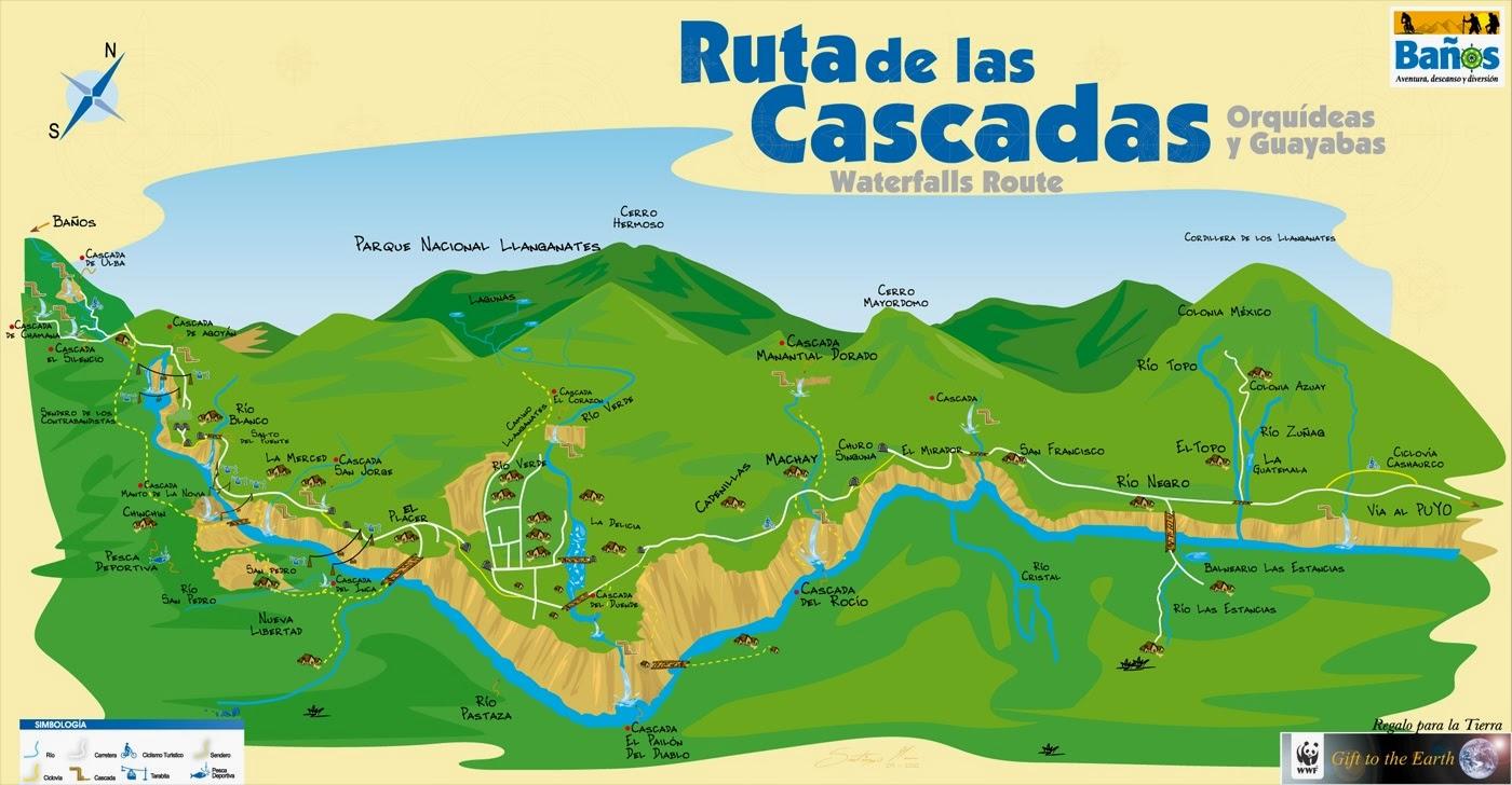 Mapa Ruta de las Cascadas Ciudad de Baños | Ecuador Turistico