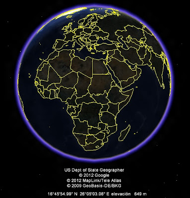 El Mundo, google earth, vista nocturna, Africa