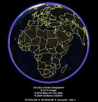 El Mundo, google earth, vista nocturna, Africa