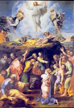 Raphaels transfiguration jesus christ painting with apostles in vatican museum