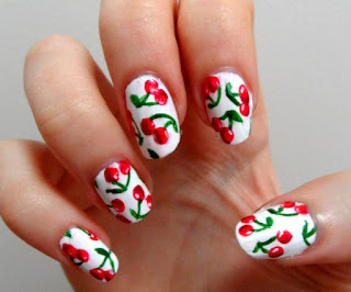 unhas decoradas frutas cereja