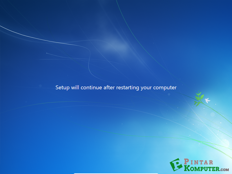 setup will continue after starting your computer
