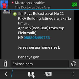 Detail alamat dan pesanan jersey Persija NET TV oleh Irin di enkosa sport toko online terpercaya lokasi di pasar tanah abang jakarta pusat'