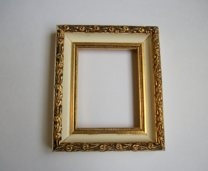 i have this small creamy white wood picture frame with gold gilt raised ornate detailsshabby cottage chic perfection