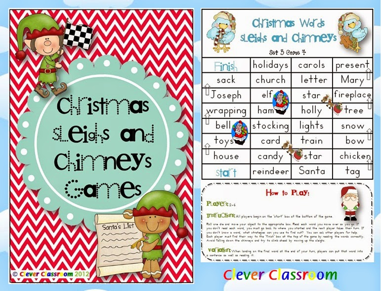 Christmas Sleighs and Chimneys Vocabulary Games 3 Levels with Record Sheets PDF file  Easily print off your 28 page Christmas file with black and white cover page, 3 game levels for the various levels 12 games in total) in your classroom.