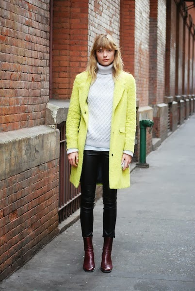 bright color coat yellow street style fashion blogger