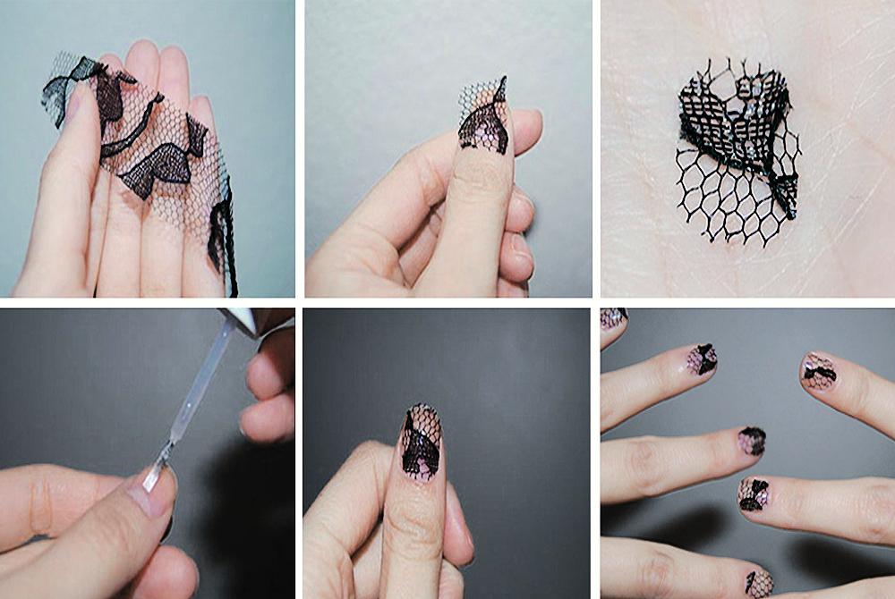 Ногти в домашних условиях с кружевами