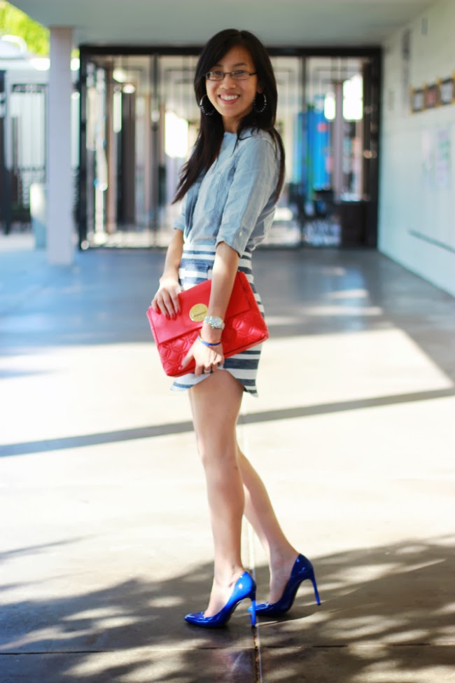 textured skirt chambray shirt outfit ideas trend fall 2013.border=