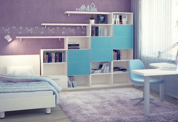 chambre ado fille moderne violet blue and purple bedroom ideas - Chambre Ado Fille Moderne Violet
