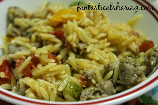 Creamy Orzo with Sausage & Veggies | A killer one pot meal with zucchini, tomato, sausage, and delicious orzo pasta #recipe