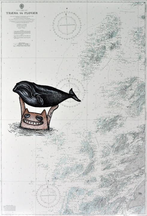 Seascape 27, 2011. Navigation map, acrylic on canvas, 100 x 70 cm