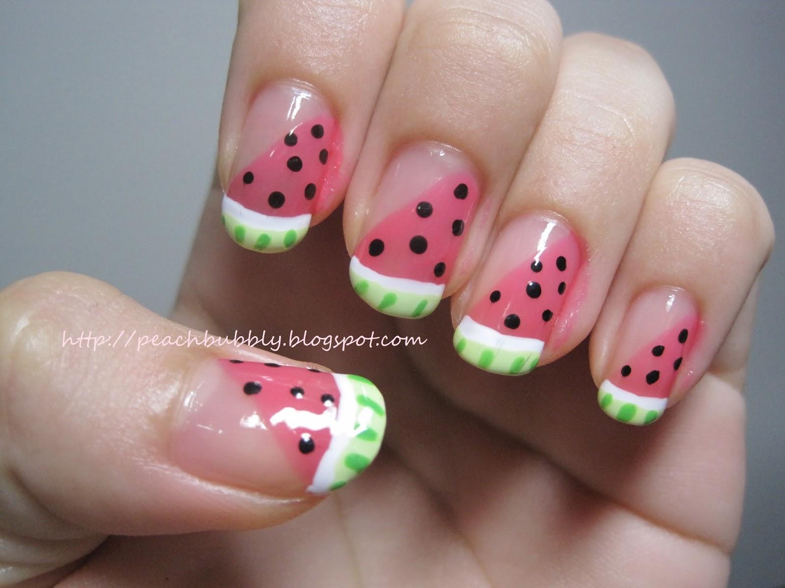 Peachbubbly Watermelon Nail Art Tutorial