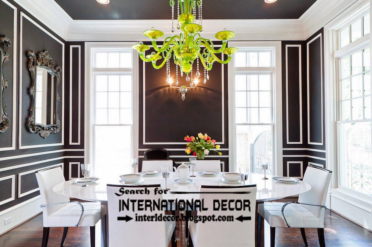 Decorative wall molding or wall moulding designs ideas for Black dining room walls