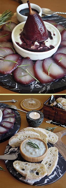 Carpaccio de pera ao vinho com especiarias e patê de gorgonzola
