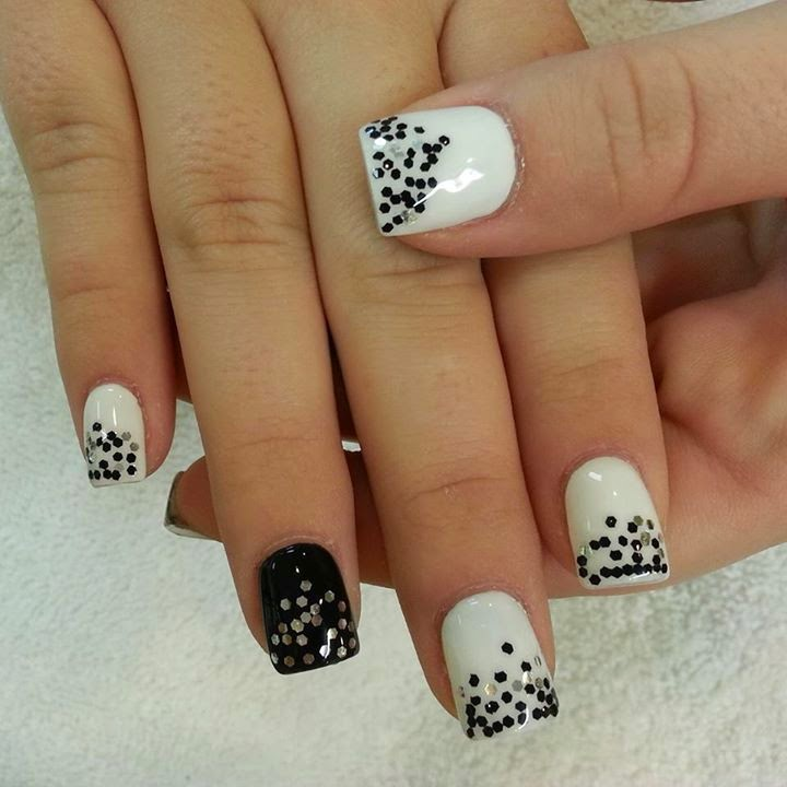 Black, white And Crystal Nails