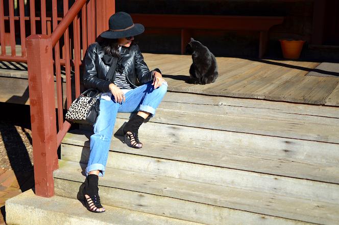 BLACK FEDORA HAT BLACK CAT