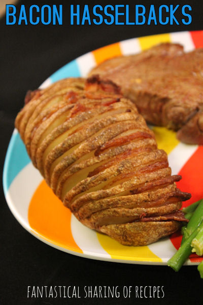 Bacon Hasselbacks - delicious baked potatoes with bacon in every bite! www.fantasticalsharing.com