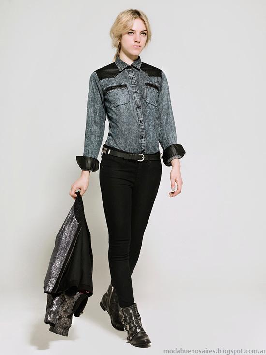 Camisas de mujer de jeans moda invierno 2014.