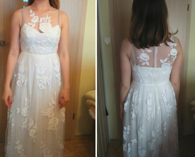 Suknia ślubna z koronkami w kwiaty