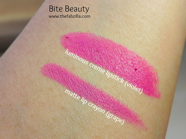 swatches, review, bite beauty, matte lip crayon, luminous creme lipstick