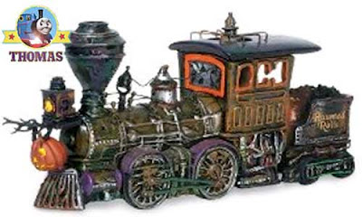 Decoration steam locomotive ghost train ride Halloween haunted railroad model collectible buildings