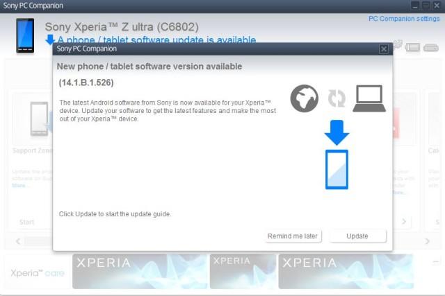 Xperia Z Ultra started a new firmware update (14.1.B.1.526 ...