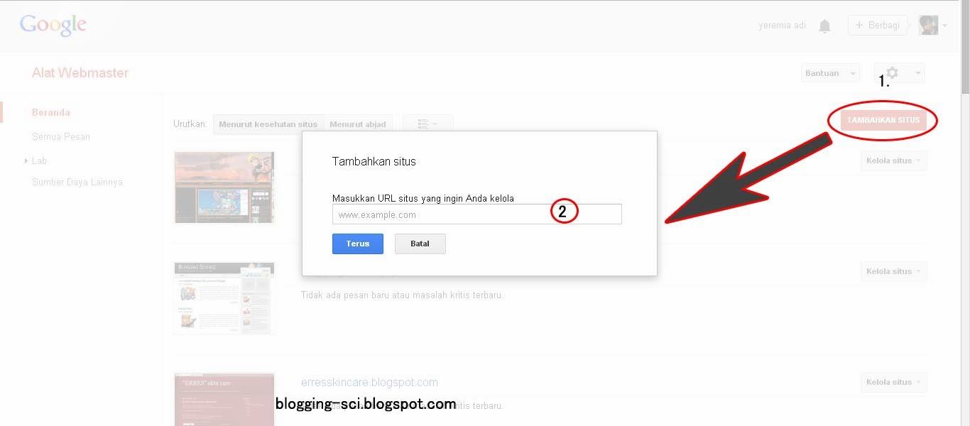 menambahkan situs ke google webmaster