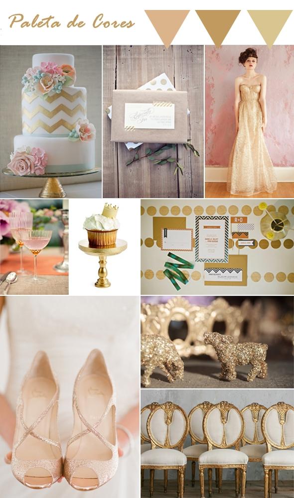 Decoração de casamento na cor ouro