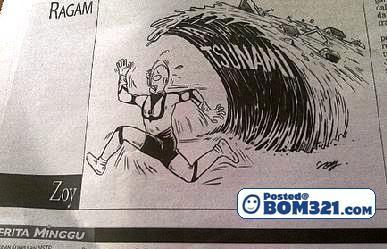 Kartun Berita Harian Yang Senda Tsunami Di Jepun