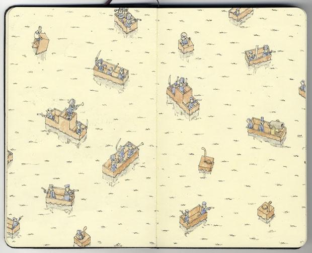 Mattias Adolfsson,dibujos,drawings,moleskine,suecia,sweden,battleships