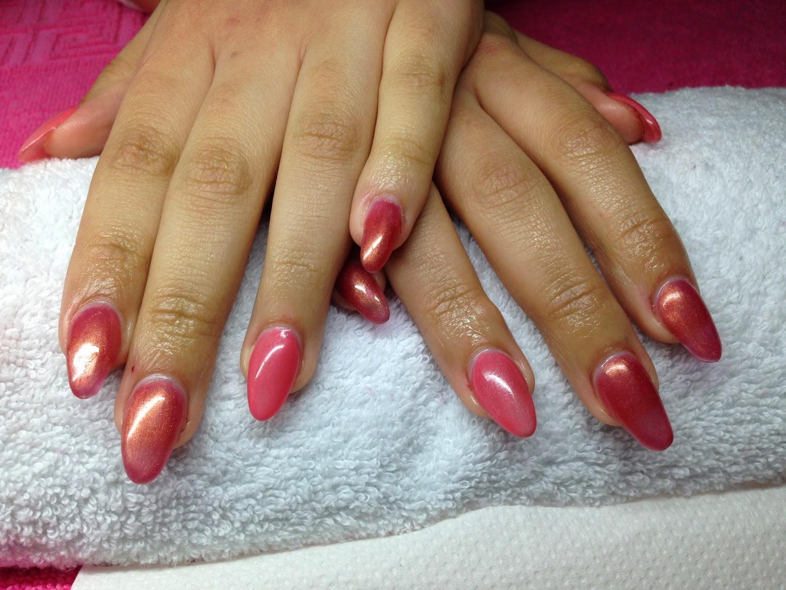 Crystal Kiss Nails by U.K: Almond gel nails & hybrid colour