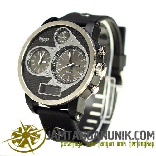 skmei triple times original jam tangan yang menampilkan 3 waktu yang berbeda