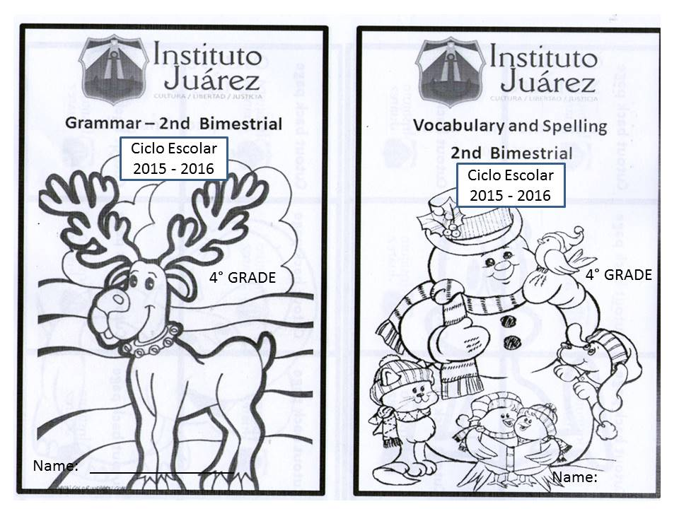 Instituto Juárez 4 Primaria Portadas De Inglés Segundo Bimestre
