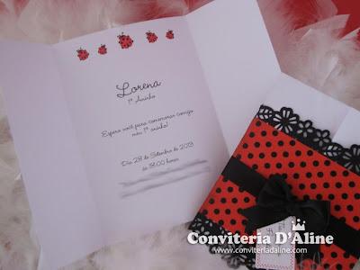convite tema joaninha diferente delicado provençal