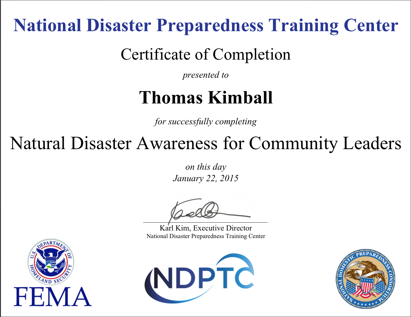 AWR-310 Natural Disaster Awareness for Community Leaders