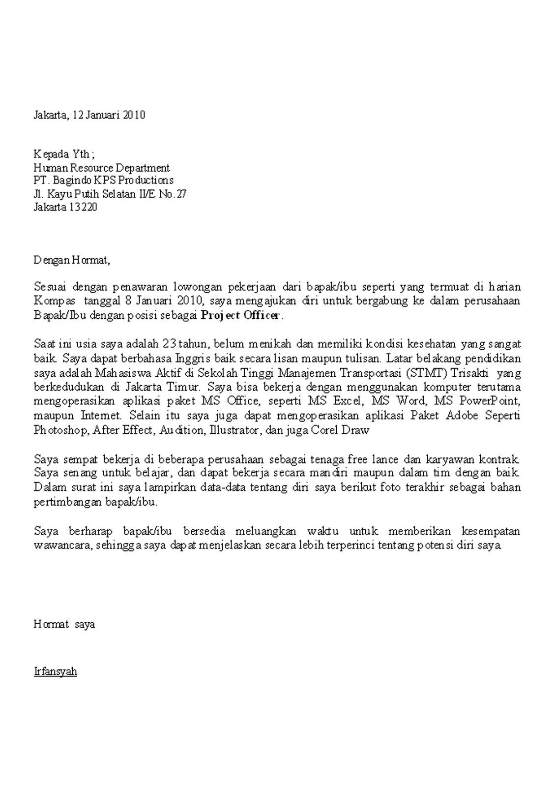 Download Contoh Surat Lamaran Kerja Online Via Email