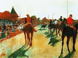 Эдгар Дега. Скаковые лошади перед трибуной. Ок. 1879.