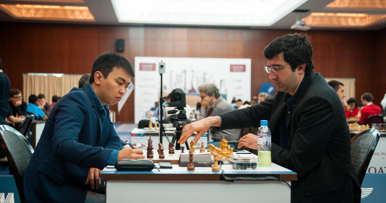 Ronde 8: Vladimir Kramnik (2796) 1-0 Sanan Sjugirov (2646) - Photo © Katerina Savina